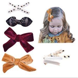 Set of 4 Hair Clip Velvet Bows